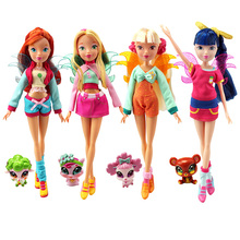 26cm Winx Club Doll rainbow colorful girl Action Figures Fairy Bloom Dolls with lovely pets Classic Toys For Girls Gift(China)