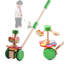Baby Toys Push/Pull Baby Walks Wooden Toys Butterfly Horizontal Slide Infant Early Development Single Rod Hand Pushed Toy Gift(China)