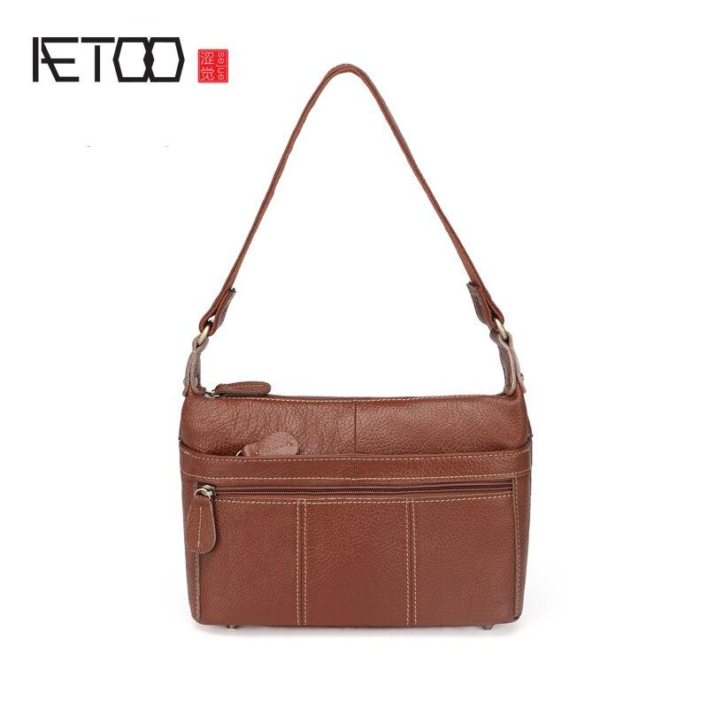 AETOO Women Leather handbags fashion shoulder bag oblique bag head layer of leather bag<br>