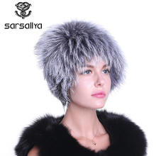 Winter fur hat for women real rex rabbit fur hat with silver fox fur flower knitted beanies sale women fur cap(China)