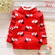 2017 Winter baby girls sweater childrens lace collar double thicker wool top fashion princess woollen turtleneck sweater 16D1224