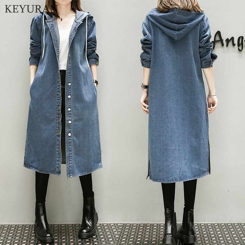 XL-5XL Plus Big Size  Denim Coat Women Spring Autumn Winter 2019 Feminina Fashion New Thin Loose Long Jean Trench Female L2327