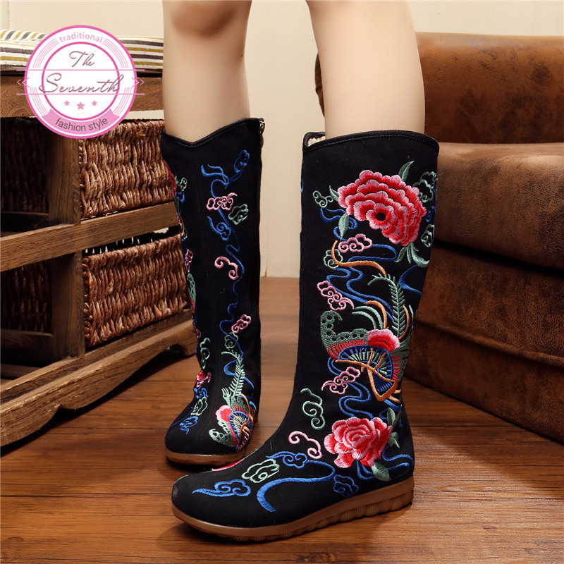 2016 Ethnic Embroidery High Butterfly Flower Boots(China (Mainland))