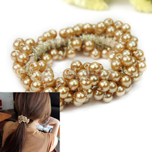 Hot Women Beads Stretchy Hair Rope Scrunchie Ponytail Holder Elastic Hairband