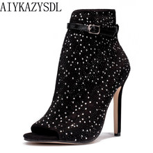 AIYKAZYSDL Women Pumps Peep Toe Ankle Boots Bootie Cut Out Side Rhinestone  Crystal Sandals Buckle Strap High Heels Wedding Shoes 1b68f4673bca