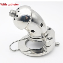 Buy 2018 Latest Large Size Heavy Male Stainless Steel Cock Cage Catheter Penis Ring Chastity Device Adult Bondage BDSM Sex Toy