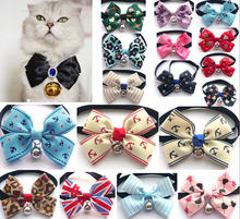 Boutique Dog cat bow tie cute pet collars with bell supplies adjustable Teddy dog neckties colorful best  xmas gift