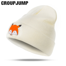 Fashion Knitted Winter Hats Women Fox Pattern Winter Hats Female Skullies Beanies Men Knitted Caps Beanies Thick Warm Caps(China)