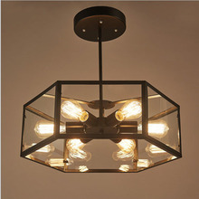Ladies Creative Living Room Retro Ceiling Lights American Ladies Irons Personalized Glass Boxes