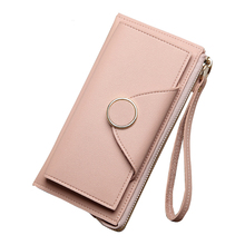 Women Wallet Leather Card Coin Holder Money Clip Long Phone Clutch Wristlet Zipper Fashion Cash Pocket Dollar Price Female Purse(China)
