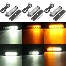 18W 6LED White Amber  Car Light Lamp Flash Flashing Auto Strobe Emergency Warning Light Bar LED Car Parking Lights