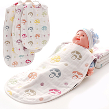 100%COTTON BABY INFANT GAUZE SLEEPING BAG KIDS CHILD NONE SLEEVE SLEEP SACKS PREVENT KICKING 3layers 6layers 40*60cm(China)