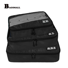 BAGSMALL Brand 3Pcs/Set Packing Cubes Breathable Clothing Organizers Travel Luggage Bags For Shirt Pants Bra Suitcase Bag(China)