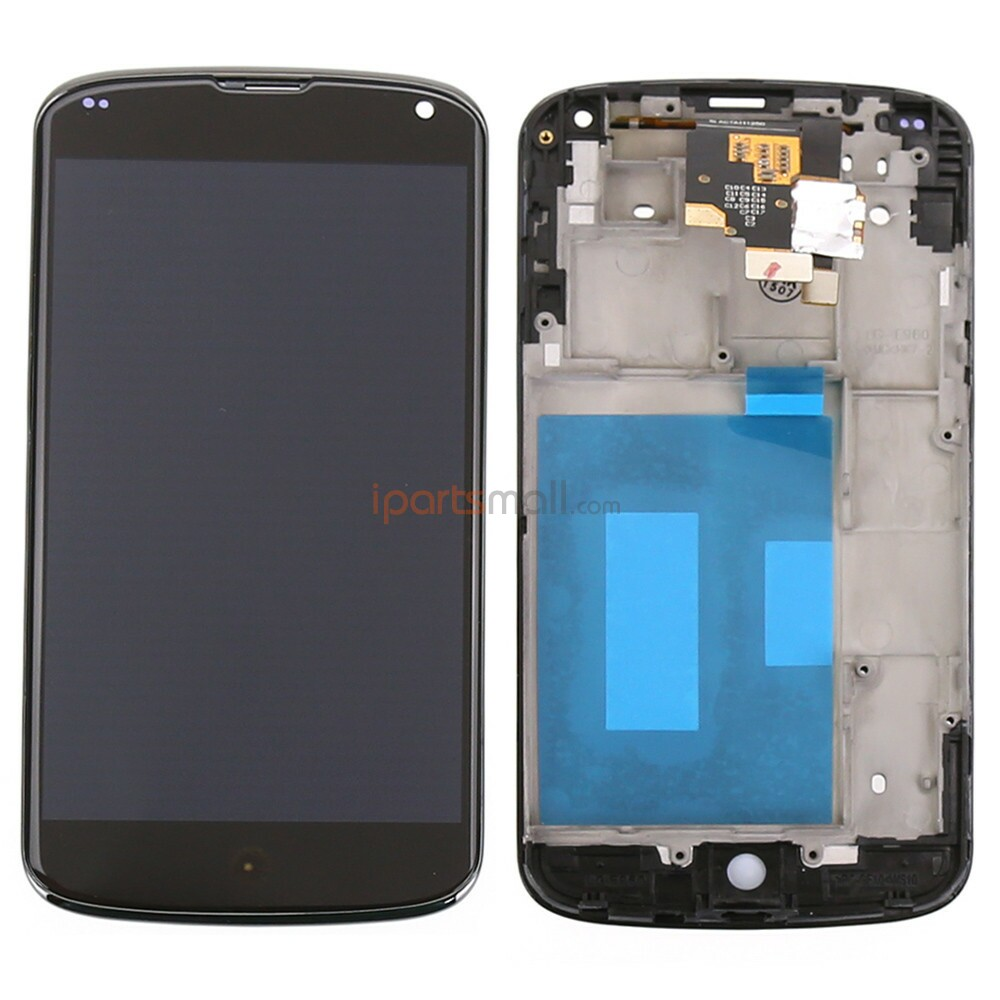 Original OEM Black LCD Display With Touch Screen Digitizer and Front Frame Assembly For Google Nexus 4 E960 Shipped By DHL EMS<br><br>Aliexpress