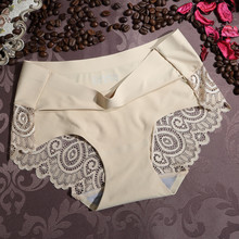 KL031 Top selling women sexy lace underwear ice silk one piece seamless panties female knickers calcinha