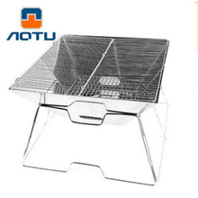 AOTU Foldable Grill Outdoor Camping Barbecue Family Charcoal BBQ Grill Stainless Steel Oven Non-stick Surface Ribbed Grill Style