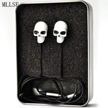 MLLSE Halloween Metal Skull Anime In-ear Earphone 3.5mm Stereo Earbud Phone Music Game Headset for Iphone Samsung MP3 MP4 PSP PC