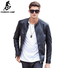 Pioneer Camp 2017 new fashion autumn winter men leather jacket brand clothing motorcycle jacket quality male leather coat men