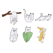 Creative White Cat on Branches Banana Leaf Lying Brooch Button Pins Denim Jacket Pin Badge Cartoon Animal Jewelry Gift