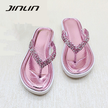 Women slippers 2017 new arrival high quality comfortable summer casual flip flops women fashion crystal flat slippers for women