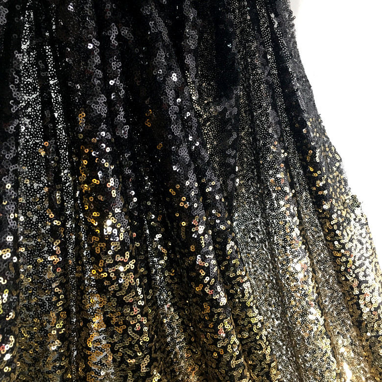 Black Stretch Double Layered Bonded Mesh Knit Fabric with Sparkly Red Glitter