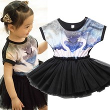 Lolita Style Swan Black Girls Dress Kids Princess Dresses Cute Summer Children Clothes 2017 Infants Girl Dress(China)