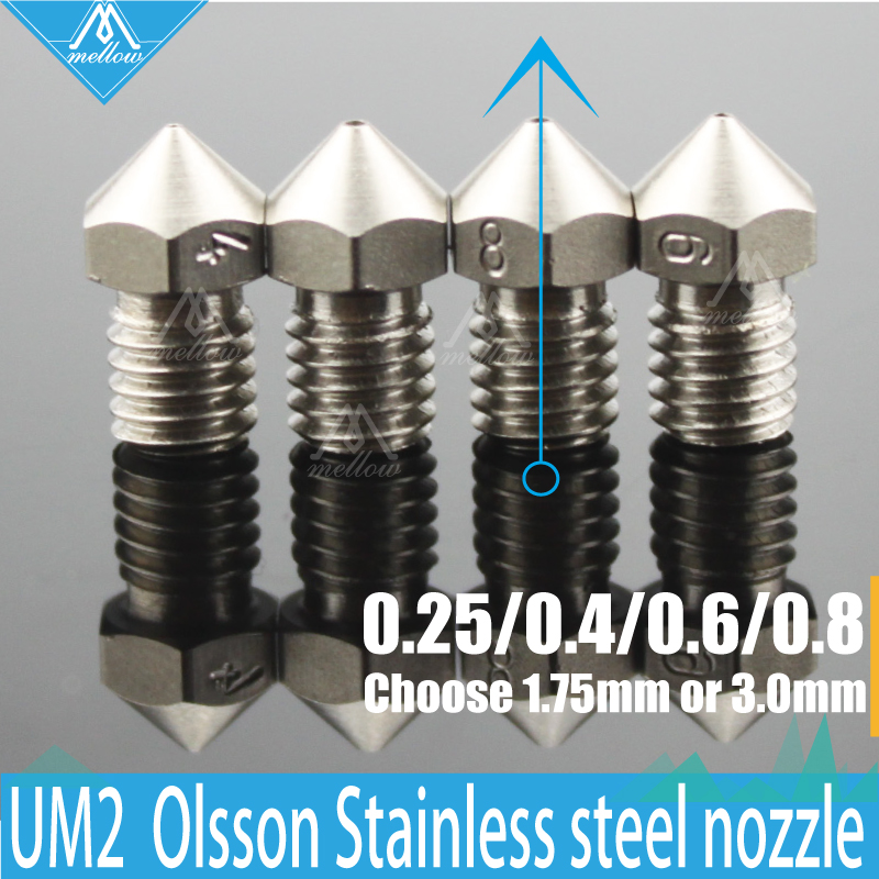 NEW!4PCS 3D printer Ultimaker 2 + UM2 Extended hotend Olsson block stainless steel nozzle for 1.75/3.0MM<br><br>Aliexpress