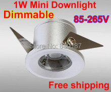 50 pcs/lot Dimmable 1W mini LED Downlight light Mini Jewelry Lamp Cabinet Spot Light Bookcase Lights
