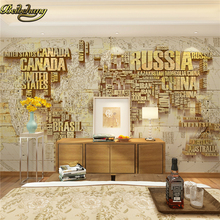 beibehang custom papel de parede 3D mural wall paper alphabet world map Canvas background wallpaper for walls 3 d Restaurant