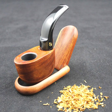 Handmade Mini Natural Rose Wood Smoking Pipe Weed Tobacco Wooden Smoking Pipes + Pouch + 10pcs Filters KDH