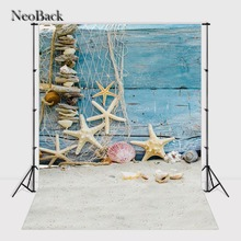 NeoBack 5x7ft Vinyl Cloth Summer Sea Beach Star Fish Wood Photo backgrounds Children Kids Printed Photographic backdrop P0956