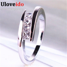Uloveido Ring Female Silver Plated Crystal CZ Diamond Jewelry Rings for Women Wedding Jewelry Infinity Engagement Ring WH033