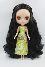 Blygirl Doll Black Medium hair Blyth Doll body Fashion can change makeup Fashion doll Frosted face shell Eyes closed(China)