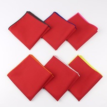 Men's Sunny Style Cotton Handkerchief Red Pocket Square Colorful Edge Hankies Towel Casual 23*23cm