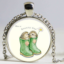 Cartoon Hedgehog In Green boots with flowers Art Glass Necklace Charms. Art. Picture necklaceGlass Dome Pendant