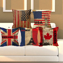 Pillowcase USA The United Kingdom French Canada Flag Cushion Cover For Sofa Bedroom Throw Pillow Cotton Linen(China)