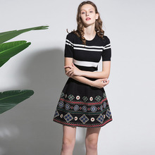 Retro Fashion Hot Sale 2017 Striped Knitting Early Autumn Short Sleeve Elastic Women Embroidery Topshop Mini Dress Women