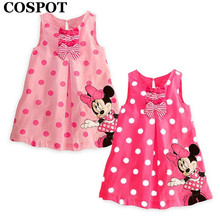 COSPOT Baby Girls Summer Minnie Dress Girl's Cute Sundress Kids Cotton Minnie Mouse Sleeveless Casual Dresses 2017 New Arrival(China)
