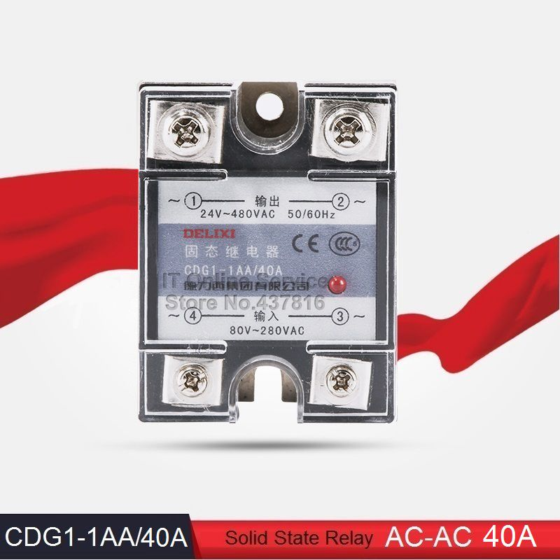 High Quality AC-AC 40A Solid State Relay 40A Single Phase SSR  Input 80-280VAC Output 24-480VAC (CDG1-1AA/40A)<br><br>Aliexpress