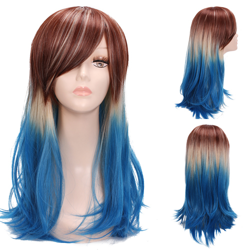 Free Shipping 60CM Japan Harajuku Synthetic Hair Straight Three Tone Brown Blonde Blue Ombre Cosplay Wig<br><br>Aliexpress