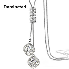 Dominated Women Pendant Necklaces Crystal Necklace Female Temperament All-match Long Paragraph Sweater Chain Pendant