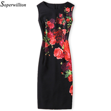 Soperwillton 2017 New Brand Dress Summer Women High Quality Printing bodycon bandage Business work office Women's Dresses #A764(China)