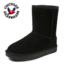 Cuculus Hot Cow Suede Leather brand women snow boots comfortable black winter quality boots shoes free shipping 5825(China)