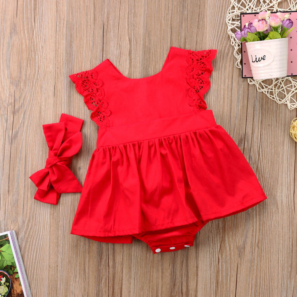 Summer Cotton kids Girl Lace Ruffled Romper Bodysuit Hair Band party Clothes