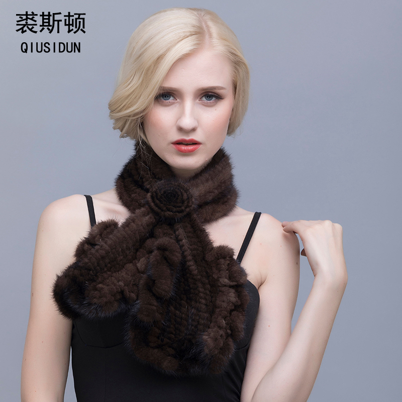 QIUSIDUN Men And Women Mink Knitted Scarf  Winter Beautiful Fish-Tail Lace FUR Warm Scarf Winter Woman With Scarf Black/Coff