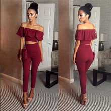 Buy Casual Women Suits Sexy Two Piece Outfits Girls Crop Top Long Pants 2 Piece Women Set Bodycon Suit Womens Clothing Ruffles for $14.73 in AliExpress store