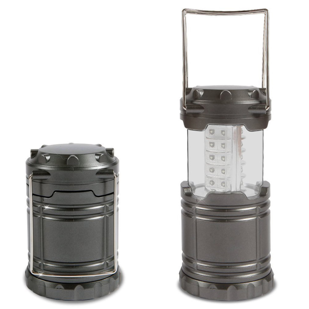 Black Gray Super Bright Lightweight 30 LED Camping Lantern Outdoor Portable Lights Water Resistant Camping Lighting Lamp