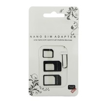 Wholesale Nano SIM Card Adapter 4 in 1 micro sim adapter with Eject Pin Key Retail Package for iPhone 7/5/5S/6/6S/Samsung 50pcs