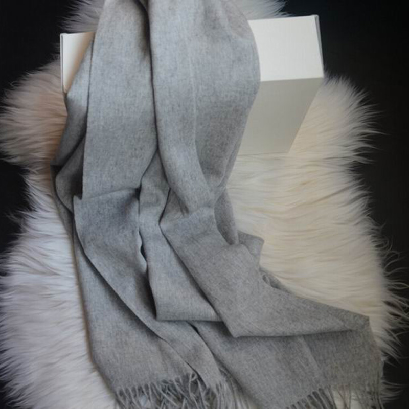 100 wool scarf women Gray Solid pashmina shawls Wool scarf women long Soft Warm  Free Shipping