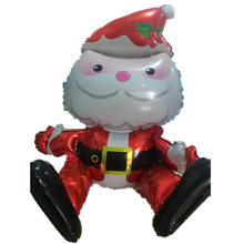 Sitting Santa Claus Foil Balloon Lovely Printed Christmas Mylar Balloon for Merry Christmas Party Decoration